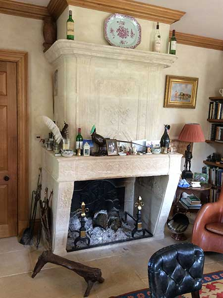 Large stone fire place for residential property